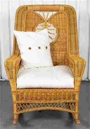Woven Wicker Rattan Rocking Armchair