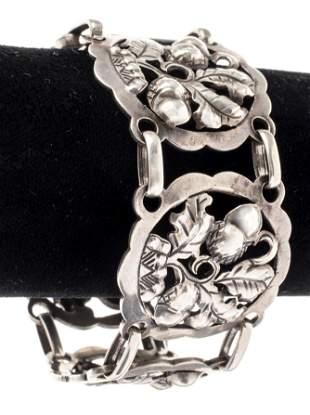 Georg Jensen Style Vintage Silver Acorn Bracelet