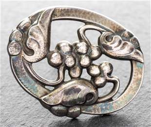 Georg Jensen Sterling Silver Grape Motif Brooch