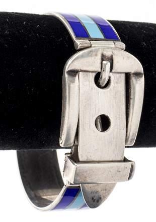 Vintage Gucci Silver Enamel Buckle Bracelet
