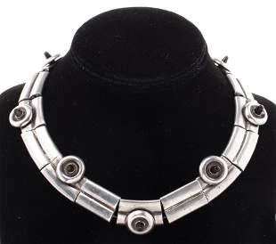 Pineda Attr. Silver & Black Obsidian Necklace
