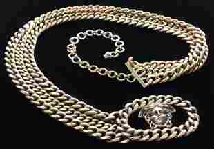 Gianni Versace Chain-Link W Medusa Buckle Belt