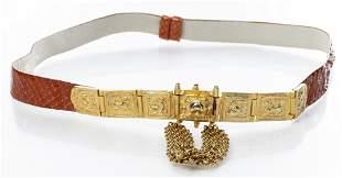 Judith Leiber Snake Skin Belt W Gold-Tone Buckle