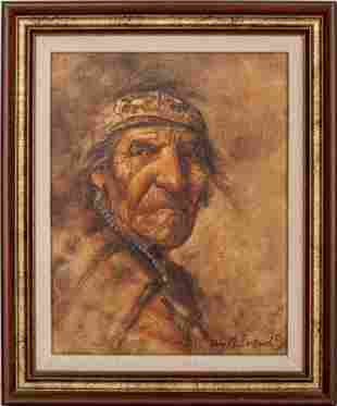 """Tony Sandoval """"Native American Elder"""" Oil"""