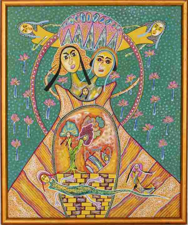 Rolando Quintero Cuban Folk Art Oil on Canvas