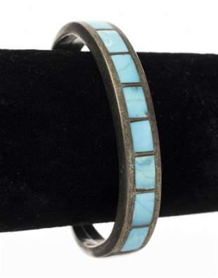 Native American Silver Turquoise Inlay Bracelet