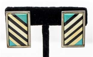 Navajo Silver Multi-Stone & Shell Inlay Earrings