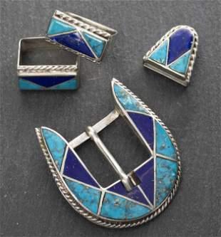 Navajo Silver Turquoise & Lapis Belt Buckle 4 Pcs.