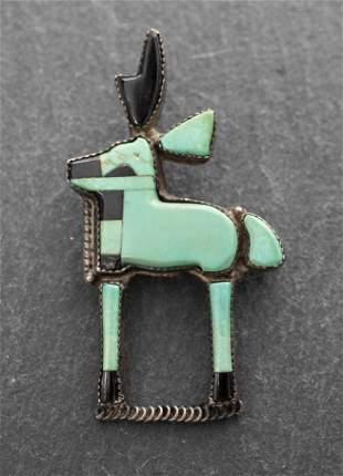 Navajo Silver Turquoise Onyx Inlay Elk Pin/Brooch