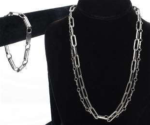 Group of Mexican Silver Chain Necklaces & Bracelet