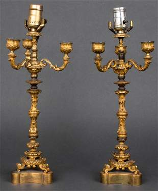 French Louis Philippe Style Candelabra Lamps, Pr