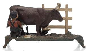 Painted Cast Iron Mechanical Coin Bank With Cow
