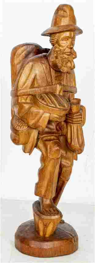 """Folk Art Carved Wood """"Traveler"""" Sculpture"""