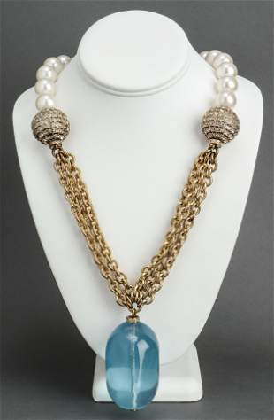 Valentino Poured Resin & Faux Pearl Necklace