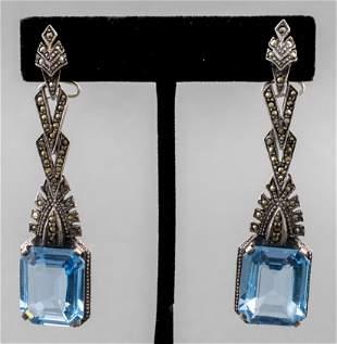 Silver Blue Topaz & Marcasite Drop Earrings