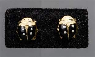 18K Yellow Gold Enamel Lady Bug Stud Earrings