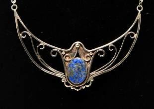 Art Nouveau Style Silver & Lapis Lazuli Necklace