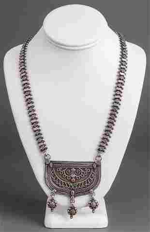 Tribal Persian Silver & Carnelian Necklace