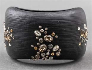 Alexis Bittar Crystal Studded Lucite Wide Bracelet