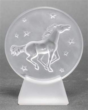 Lalique Frosted Crystal Kazak Horse Paperweight