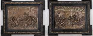 Continental Framed Relief Pub Scenes, Pair