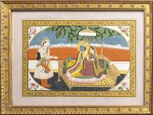 Indian Miniature Painting Depicting Vishnu