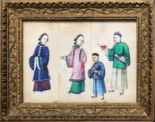 Chinese Export Ink & Colors on Pith Paper, 19th C.