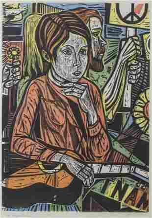 "Irving Amen ""Symbols"" Woodcut in Colors"
