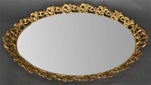 Gilded Floral Mirror Tray