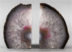 Dyed Agate Mineral Specimen Bookends, Pair