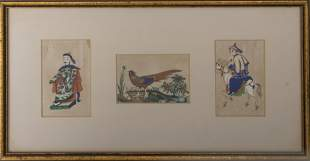 19th C. Chinese Export Triptych On Paper