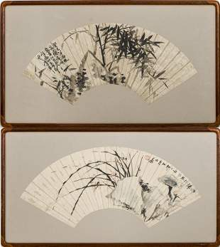 Chinese Ink on Paper Fan Paintings, 2