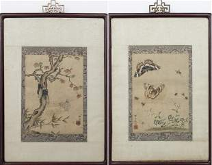 19th Century Chinese Ink and Color on Paper, Pair
