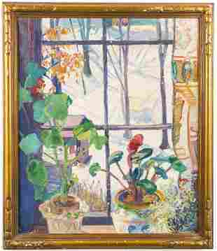 """Dorothy Hapgood """"View From The Window"""" Oil"""