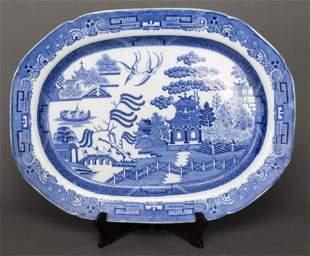 Antique English Blue & White Stoneware Platter