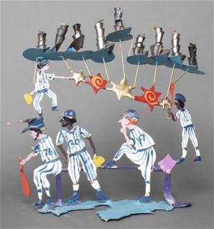 Israeli Judaica Metal Folk Art Baseball Menorah