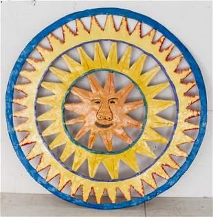 Folk Art Hand Painted Metal Sun Wall Hanging