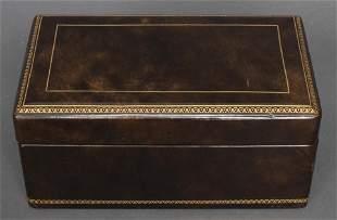Gilt-Tooled Leather Humidor / Box