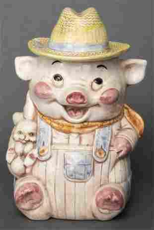 Polychrome Ceramic Cookie Jar of a Pig Farmer