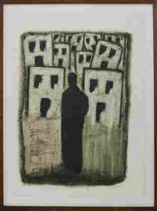 """Illegibly Signed """"Figure & Buildings"""" Oil on Paper"""