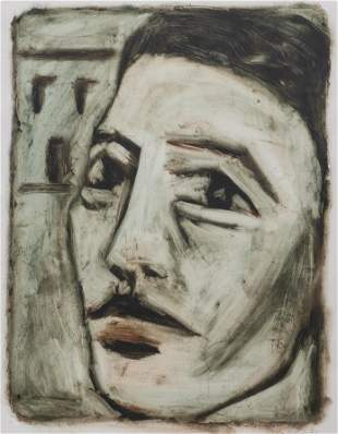 """Illegibly Signed """"Portrait of a Man"""" Oil on Paper"""