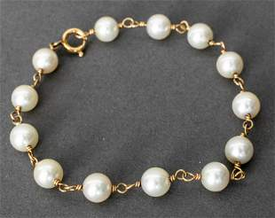 12K Yellow Gold Filled Cultured Pearl Bracelet