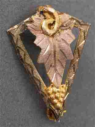 Vintage Jack Hills 10K Rose & Yellow Gold Pin