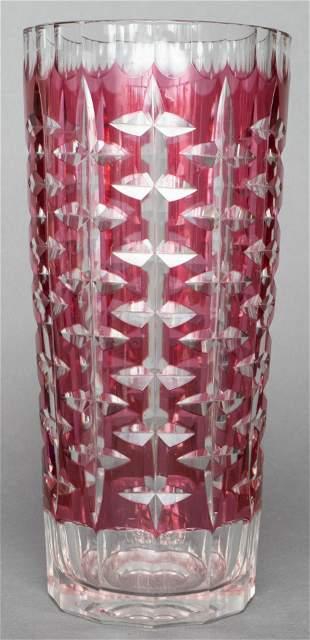 Czech Bohemian Ruby Cut to Clear Crystal Vase