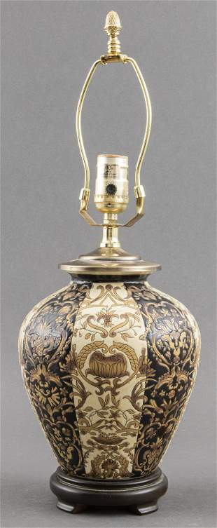 Glazed Ceramic Table Lamp on Polished Wood Base