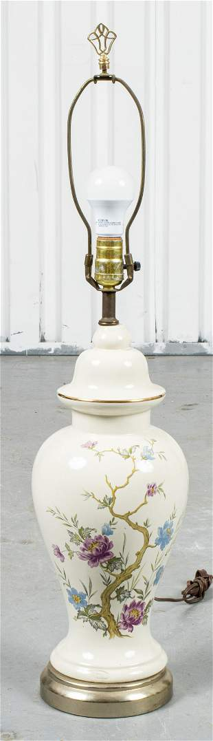 Floral Paint Decorated Table Lamp