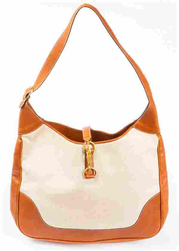 Hermes Style Lederer Tan Leather & Canvas Handbag