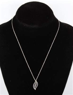 India Green Diamond & Silver Leaf Pendant Necklace