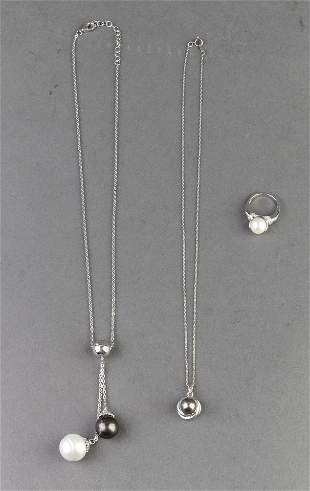 Rhodium Over Silver Pearl Diamond Ring & Necklace