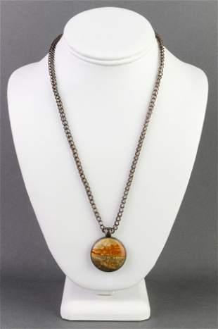 Mid-century Modern Silver Jasper Pendant Necklace